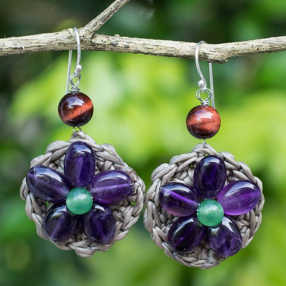 NOVICA Amethyst and Green Quartz Flower Earrings from Thai Artisan ($28) ❤ liked on Polyvore featuring jewelry, earrings, amethyst, dangle, prasiolite earrings, hook jewelry, earring jewelry, novica earrings and prasiolite jewelry