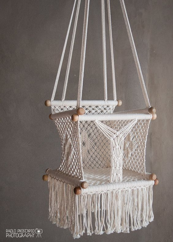 White Macrame Baby Swing Chair for Infant to Child by HangAHammock