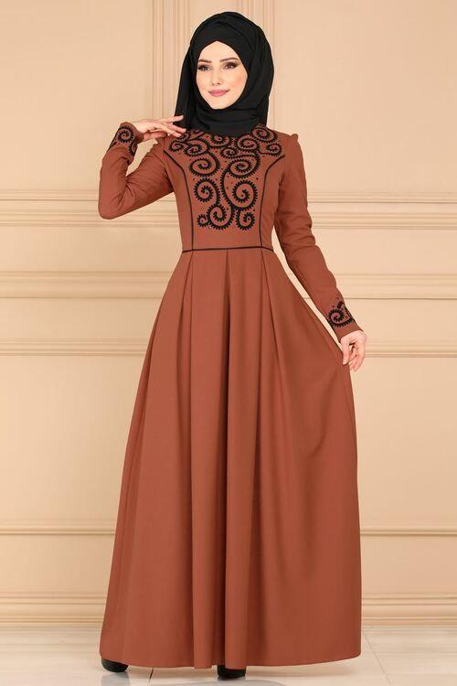 Modaselvim Elbise Flok Baskili Pileli Elbise Asm2120 Kiremit Elbise Elbise Modelleri Elbiseler