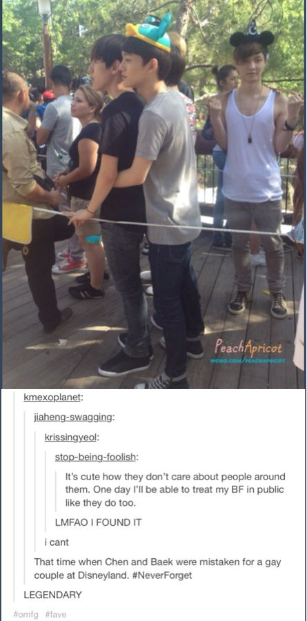 Oh my word this is gold! Lol Baekhyun and Chen were mistaken for a gay couple at Disneyland. With lay in the background