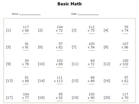 Basic Math Worksheet Free Worksheets Library – Basic Math Skills Worksheet