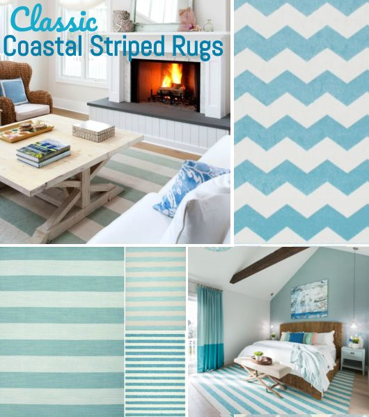 Turquoise Blue White Striped Rugs