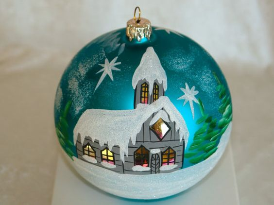 hand painted Christmas ornaments glass ball by aniamelisa on Etsy