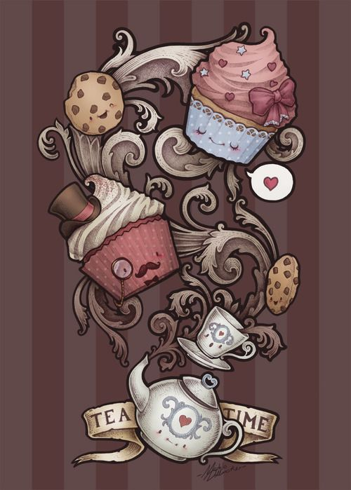 "Time for Tea - substitute the cuppys with ""eat me"" tarts & it's a perfect Alice in Wonderland tattoo!"