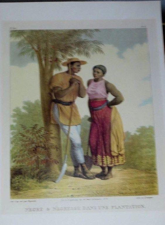 """BLACK MALE & FEMALE SLAVE ON THE PLANTATION// LITHOGRAPH--""""O BRASIL DE RUGENDOS"""""""