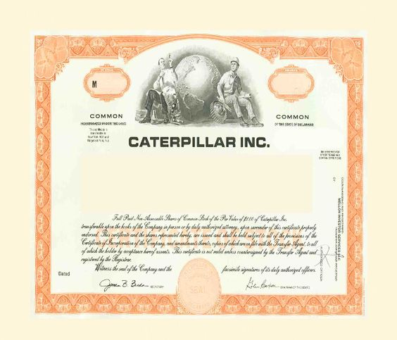 A website that allows you to buy just one share, this allows for DRIP investing where you buy directly from the company with no commission. A fun feature is they have images of the stock certificate. Shown is Caterpillar Stock