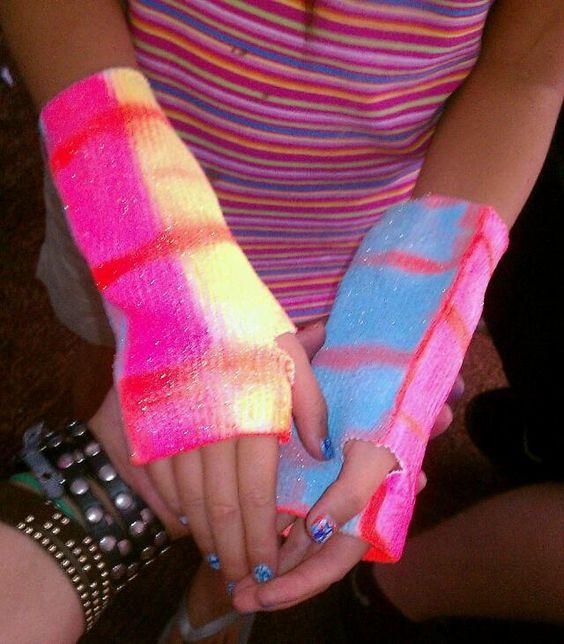 Wrist Bans-Cut Socks, Spray Paint & Glitter Spray