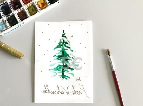 Weihnachtskarte Mistel Aquarellkarte Original Dies Ist Ein