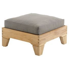 Teak ottoman with a pebble-upholstered cushion.   Product: OttomanConstruction Material: TeakColor: PebbleDimensions: 10.5 H x 26 W x 26 DNote: Assembly required. Hardware included.Cleaning and Care: Clean thoroughly once or twice a year with a mild detergent