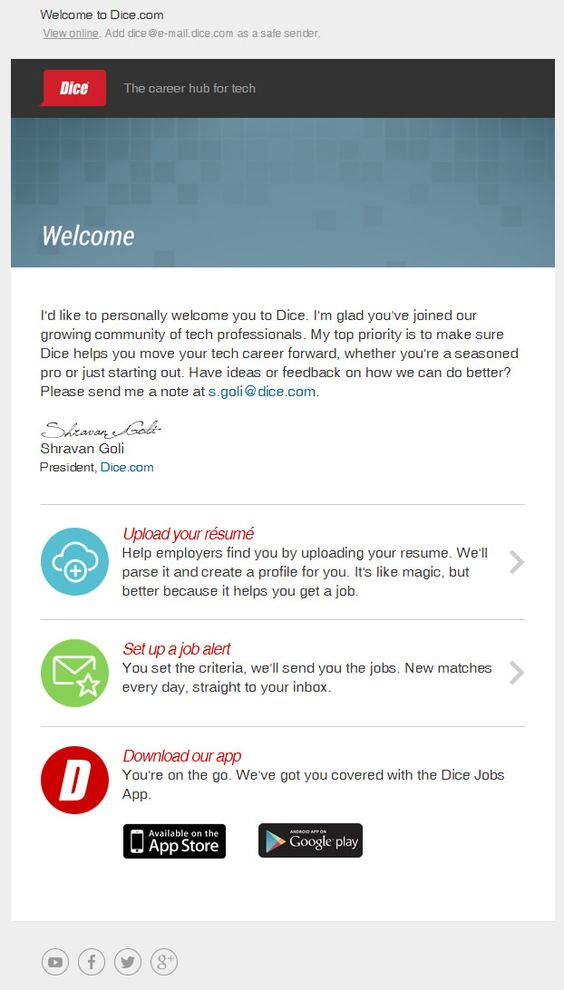 Sellfymarket sent this email with the subject line Howdy Letu0027s - dice resume