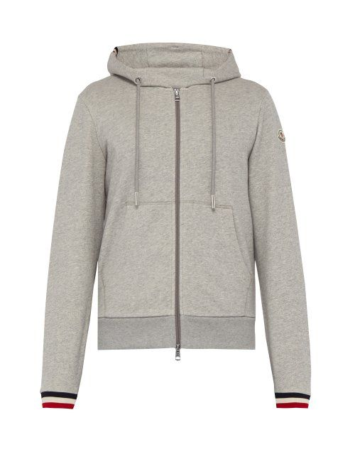 Cuff Moncler Zip Hooded Through Striped Cotton 8wyOnvmN0