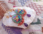 guadalajara flower market - playful dangle earrings - oblong amethyst version
