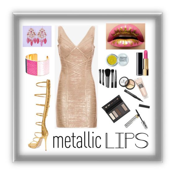 """""""Metallic Lips: Contest Entry"""" by haybeebaby on Polyvore featuring beauty, Obsessive Compulsive Cosmetics, Illamasqua, Hervé Léger, Giuseppe Zanotti, Aspinal of London, Borghese and metalliclips"""