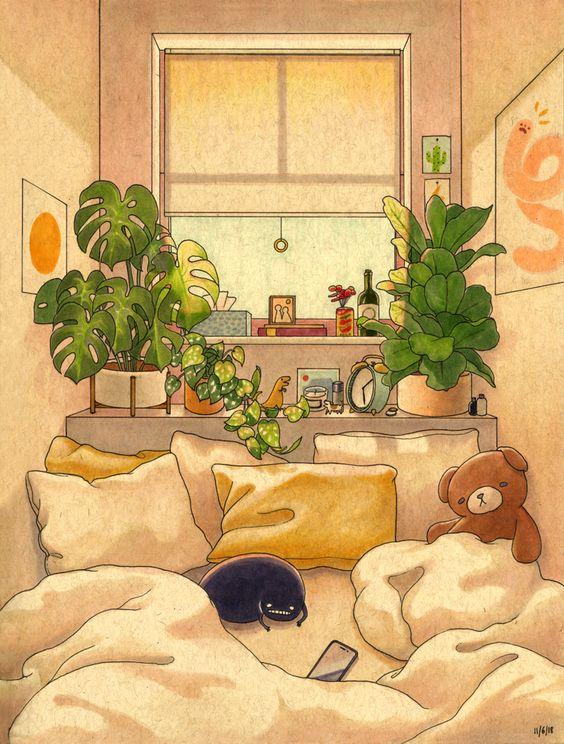 Cozy Space Mini Art Print by Felicia Chiao - aesthetic room art bedrooms ideas decor | soyvirgo.com