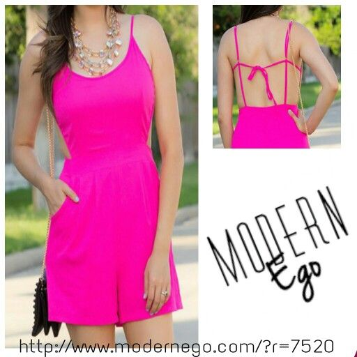 Sassy hot pink romper from Modern Ego! Check out http://www.modernego.com/?r=7520 and register for 10% off your first purchase! (Direct link in profile)