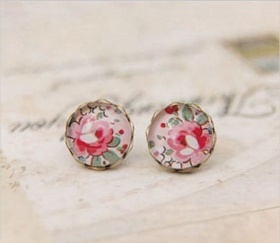 Vintage Bronze Glass Cabochon Stud Earrings, Handmade. Pink Peonie Jewellery. Christmas Gift, Stocking Filler, Gift for Her / Women / Friend