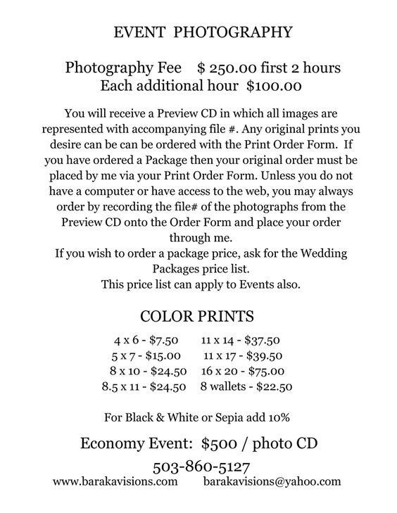 Event Photography Pricing u2026 Pinteresu2026 - sample fact sheets