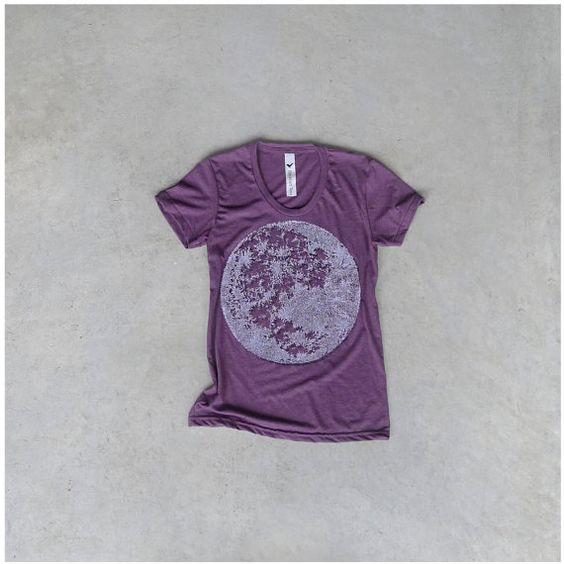 Tshirt for women. moon shirt. women t shirt. full moon on heather plum. women fashion. spring fashion. for her. purple and white  $25