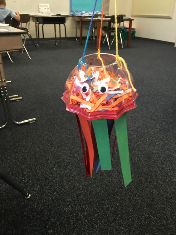 Walmart sells small tomatoes is these really cool containers.  I saved mine, and my students made Jellyfish out of them.  I have also thought about making Octopuses and Alien Space Craft out of them.  We placed shredded paper and candy inside them.  I called the mobile candy dishes.