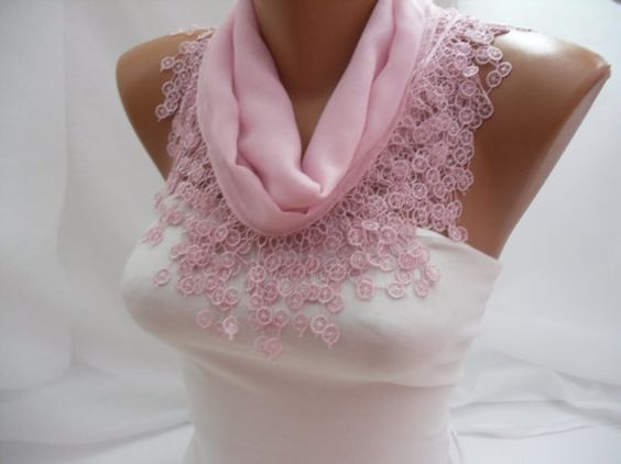 Women Pudra Pink Cotton Scarf  Headband  Cowl with Lace by DIDUCI, $13.50
