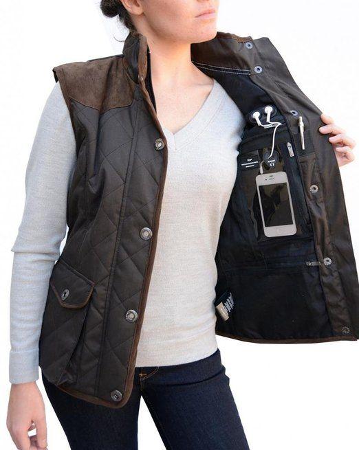 BAVIERA Women&39s Quilted Lightweight Vest $98 travel pocket safe