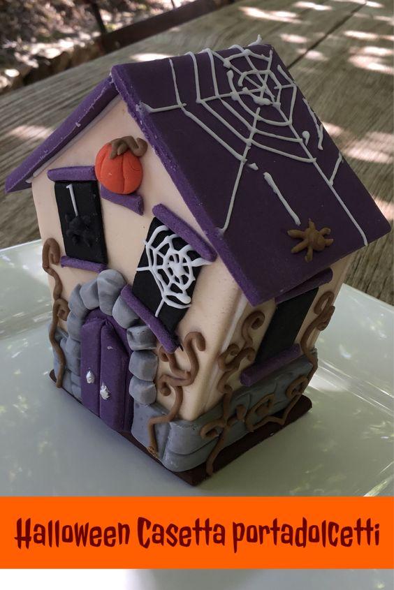 Casetta di zucchero porta-dolcetti per la notte di Halloween