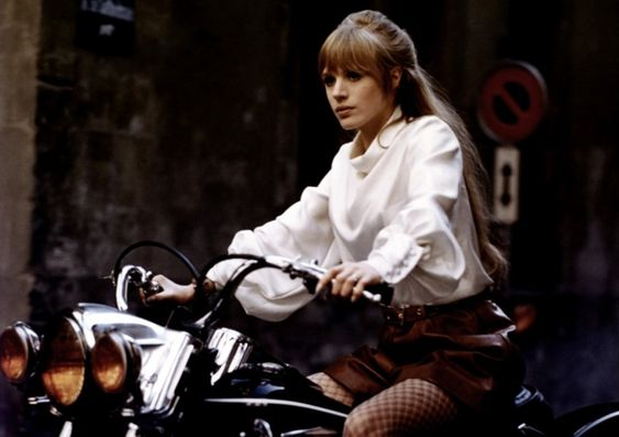 "Marianne Faithful as ""The Girl On A Motorcycle"" (1968)"