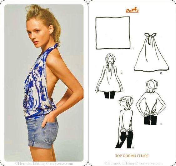 veryverve: How to tie a Hermès scarf into a top. Another boyfriend jeans but sexy outfit.