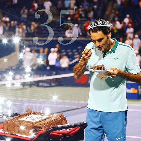 Happy birthday dearest Roger❤️ I can't believe you're 35. When you're on court it's like you're 20. The way you move, the way you love the game. And you're sense of humor, it's like you're a dumb little kid (it's one of my favorite things in you). But you have experienced so much in life so it's pretty crazy that you're only 35. All you have done in tennis and especially in life. What a wonderful family you have, also all the other people you have helped especially through your foundation is...:
