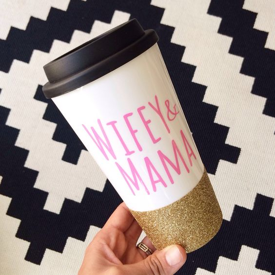 Wifey And Mama // Coffee To Go Cup // To Go Cup // Custom Cup // Plastic To Go Cup // Glitter Dipped Tumbler by TwinkleTwinkleLilJar on Etsy https://www.etsy.com/listing/217345896/wifey-and-mama-coffee-to-go-cup-to-go