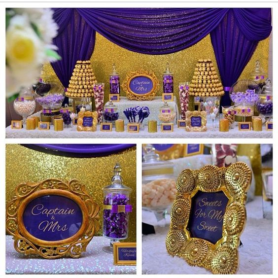 """#TopeandEmmanuel's purple and gold candy buffet by @sweetcravingsdesserts ✔️ #Photography: @akintayotimi ✔️ #WeddingPlanner: @2706events ✔️ For…"":"
