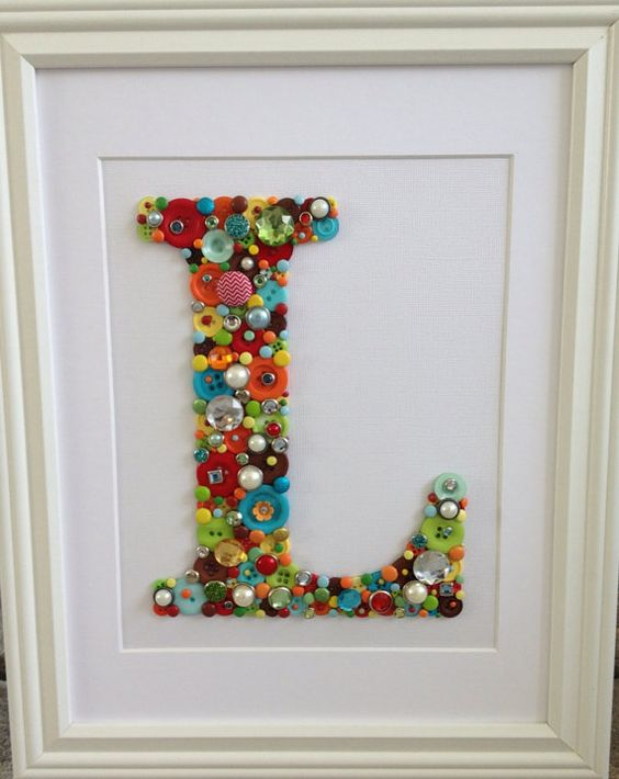 Personalized Button Letter Nursery Art Kid Space
