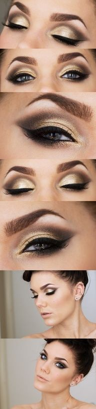 Beautiful gold look. Can also be used for Victoria secret models makeup just with a lighter dark eyeshadow in the corners :)
