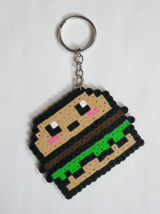 Burger Kawaii Food Perler Bead Magnet Keychain by RainbowMoonShop: