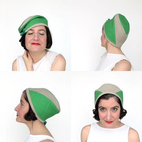Vrouwen zomer baret linnen tulband helder groene door TerryGraziano
