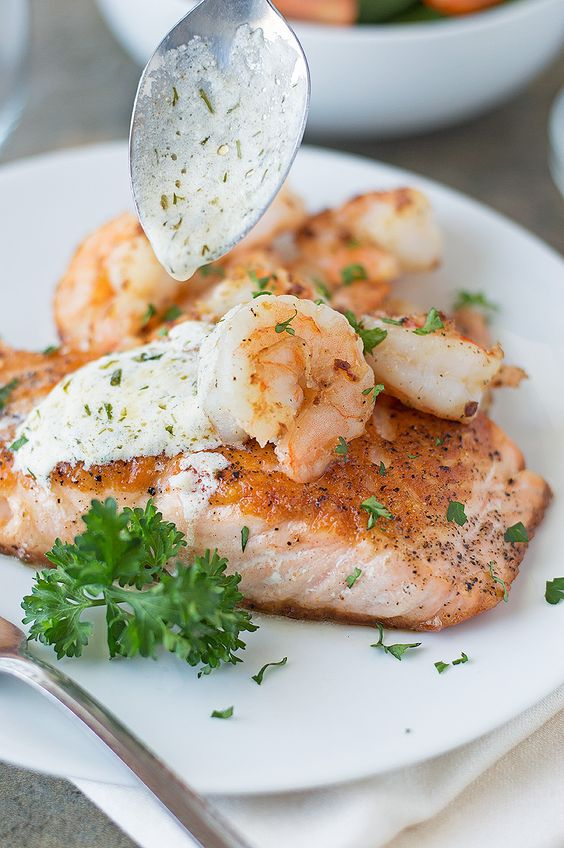 *Seared Salmon and Shrimp with Creamy Dijon Dill Sauce* This Seared Salmon and Shrimp with Creamy Dijon Dill Sauce is my easiest dish yet for salmon to help me get in those Omega 3's….