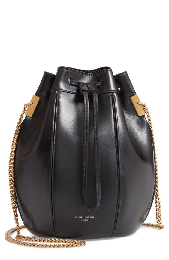 Saint Laurent Small Talitha Leather Bucket Bag - Black