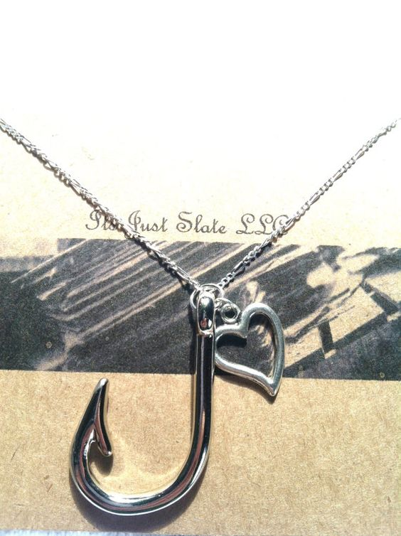 Fishing fish hook and fish on pinterest for Silver fish hook necklace