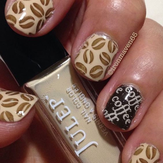National Coffee Day. Julep Emmy Lou, Olivia and Moon Nails Cream.  #julepmaven #julepemmylou #julepolivia #mani #manicure #coffee #moonnails