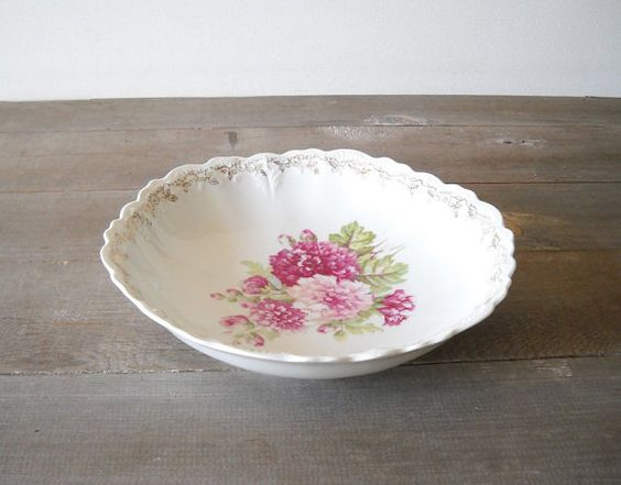 Antique Porcelain Bowl Pink Roses Weiman by MomsantiquesNthings, $25.00