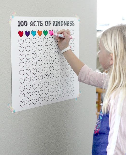 100 acts of kindness free printable tracking chart