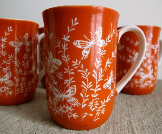 Orange Mugs - Set of Four (4) - Flower and Butterfly Motif - Les Papillons by Shafford