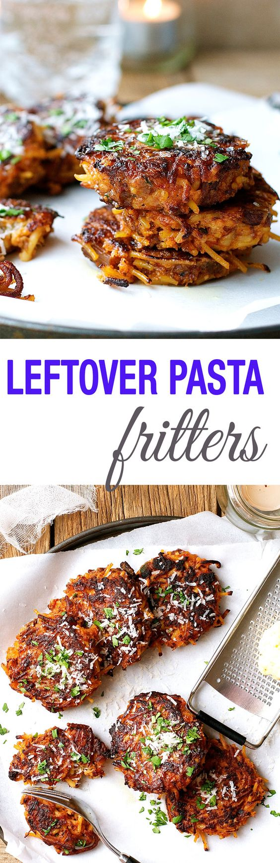 Makeover Leftover Pasta - turn them into these incredible fritters with just eggs, breadcrumbs and a bit of cheese! Can be made with any leftover pasta.