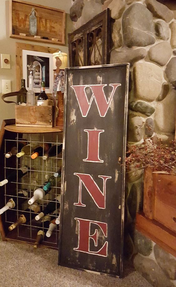 Wood Wine Sign, Large Wine Sign, Rustic Wine Sign, Rustic Sign, Rustic Home Decor, Rustic Wine Decor, Rustic Kitchen Decor, Wine Wall Decor by CharaWorks on Etsy