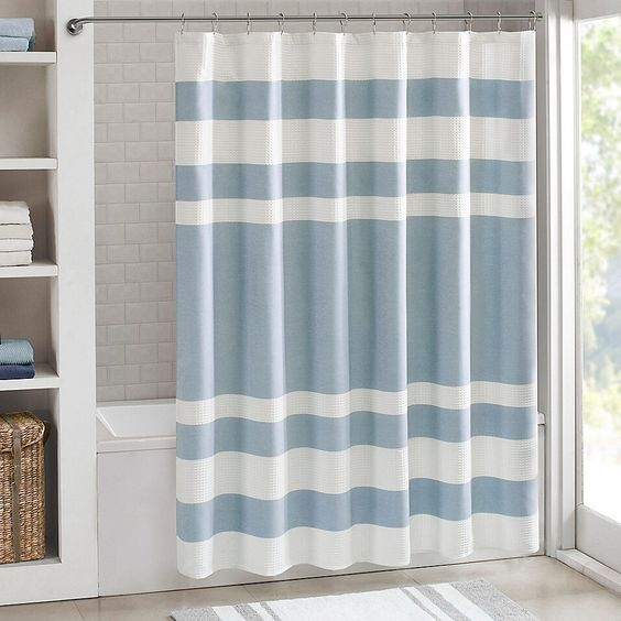 Madison Park 108 X 72 Spa Waffle Shower Curtain In Blue