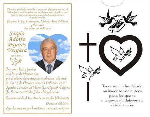 Tarjeta De Invitación De Difuntos Imagui Tarjetas