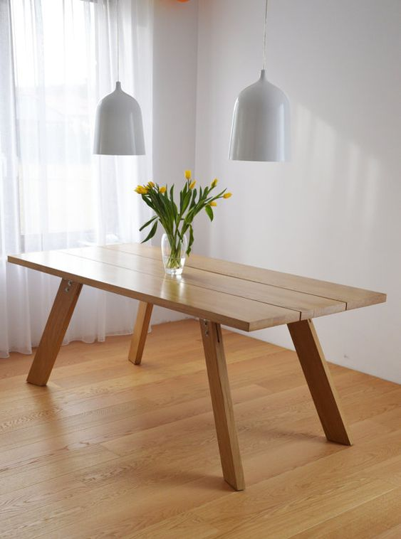 Handmade solid wood dining table. Contemporary by Poppyworkspl