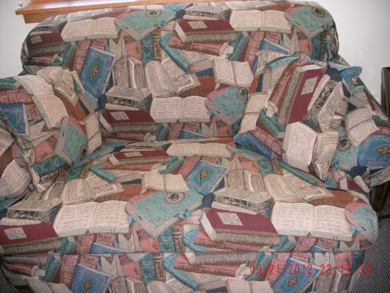 I would love a chair like this or love seat with this book print !!!!