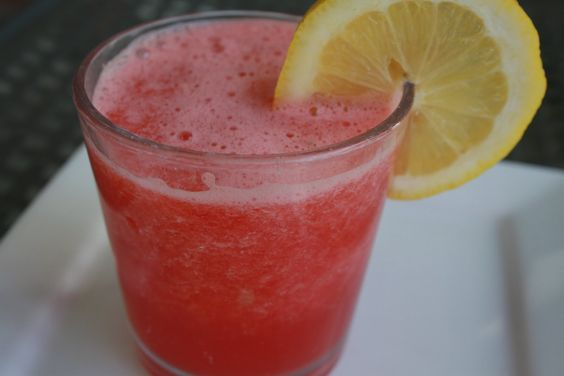 watermelon lemonade: 1 small, seedless watermelon, cut into cubes (8 cups)  1 frozen lemonade concentrate  2 cans water (using lemonade container)  1/4 cup grenadine syrup    Combine all ingredients in blender. Chill. This is a cross between a slush and fun drink!