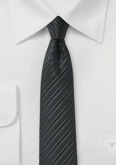 Krawatte schlank Streifen-Oberfläche teerschwarz